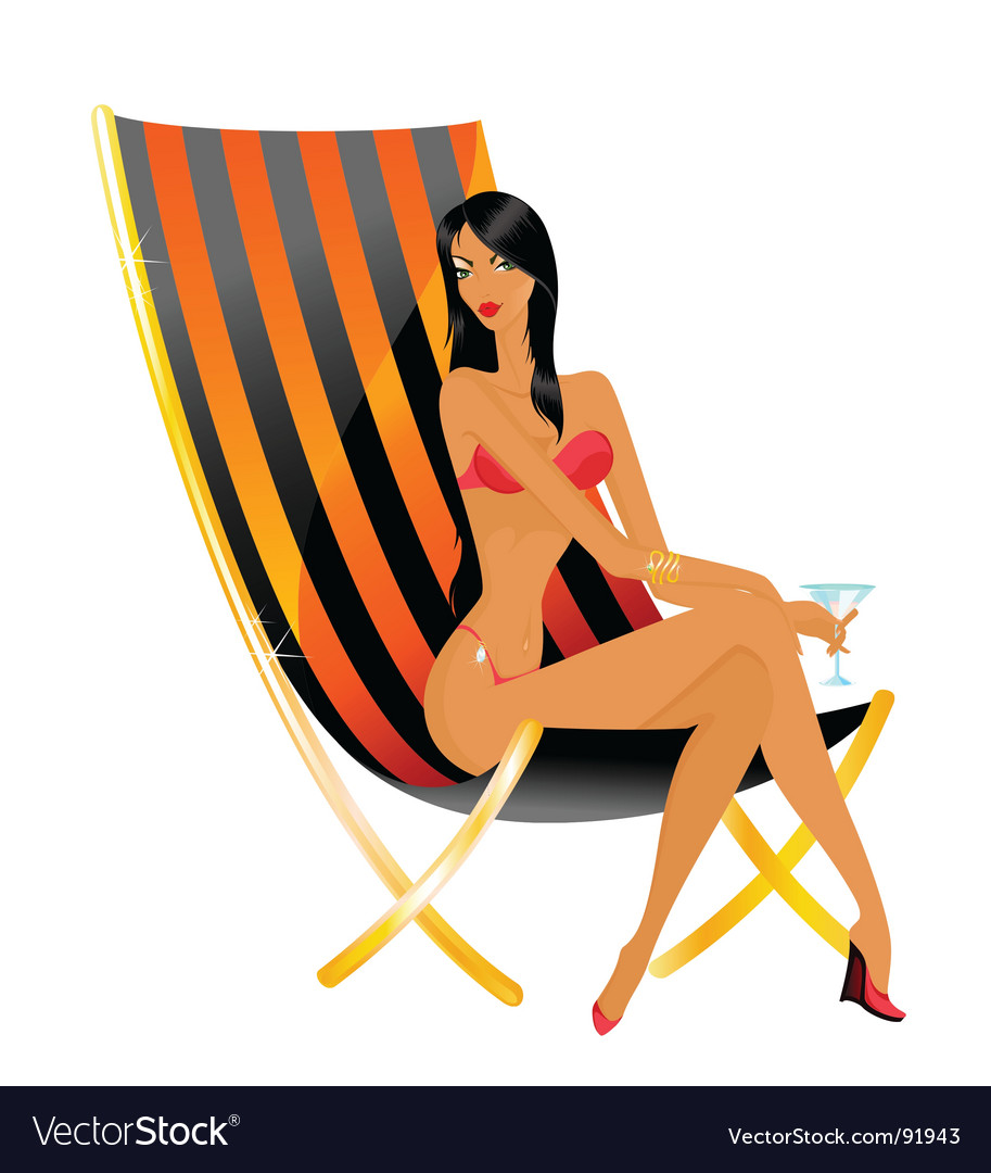 Sunbathing woman vector | Price: 3 Credit (USD $3)