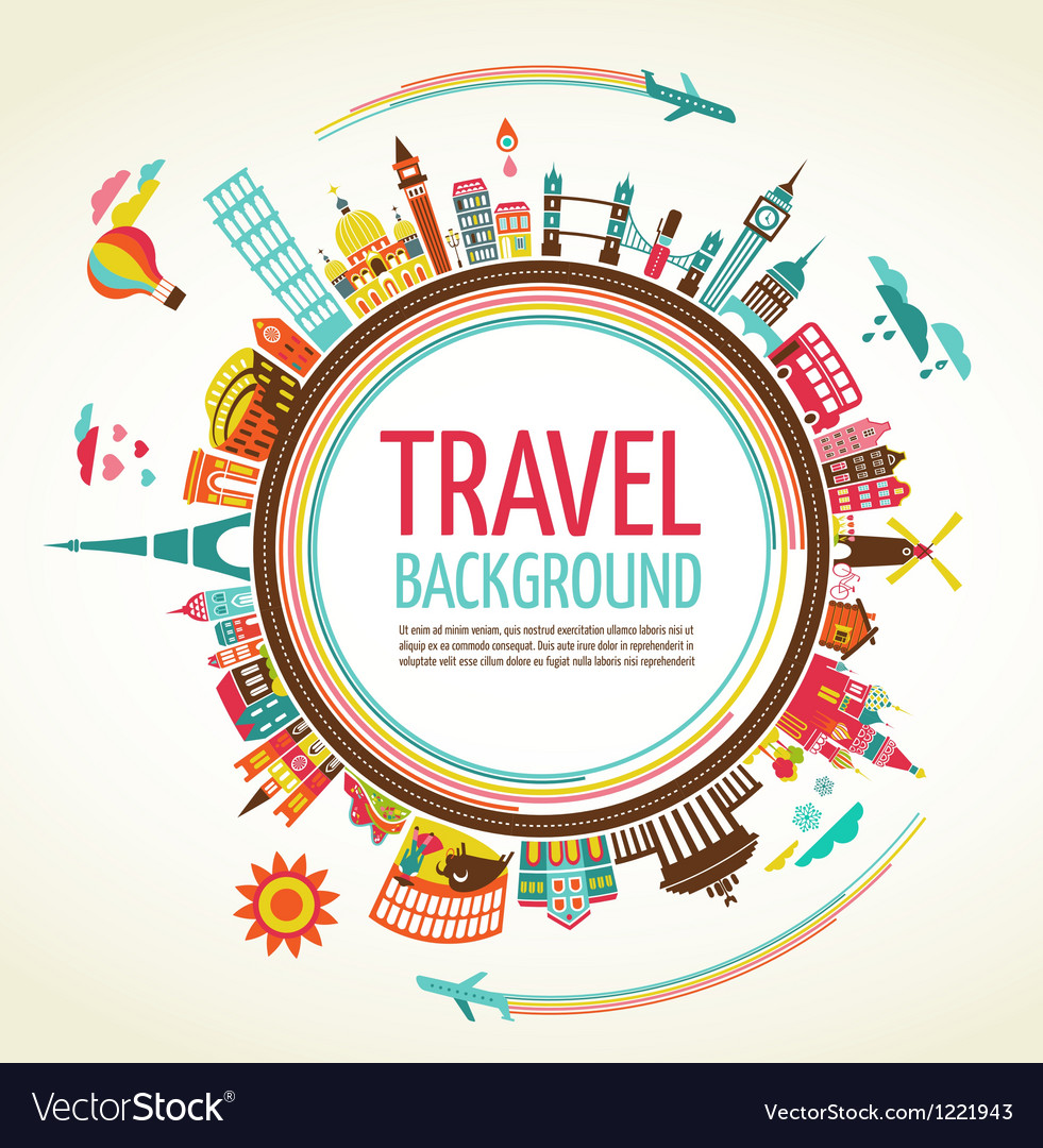 Travel and tourism background vector | Price: 3 Credit (USD $3)