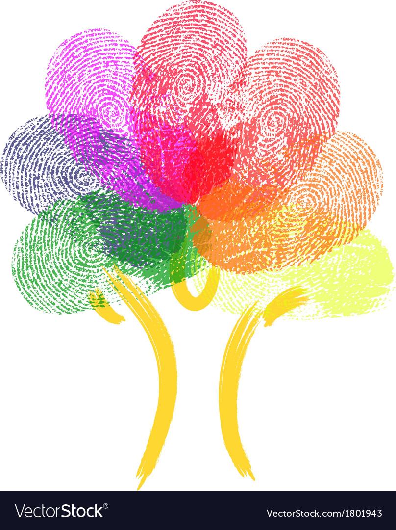Tree made of fingerprints vector | Price: 1 Credit (USD $1)
