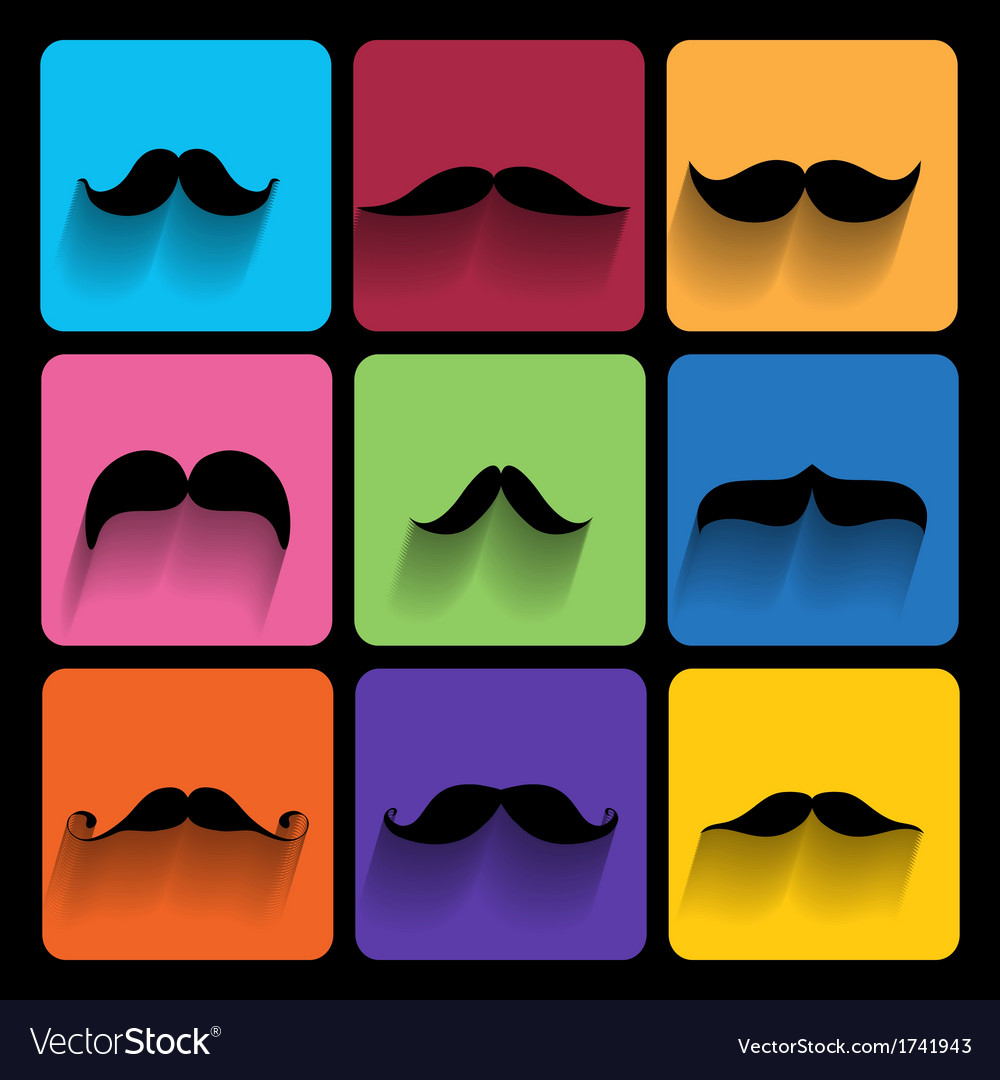 Trendy hipster icons with long shadow vector | Price: 1 Credit (USD $1)