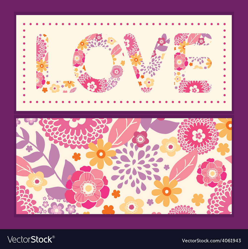 Warm summer plants love text frame pattern vector | Price: 1 Credit (USD $1)