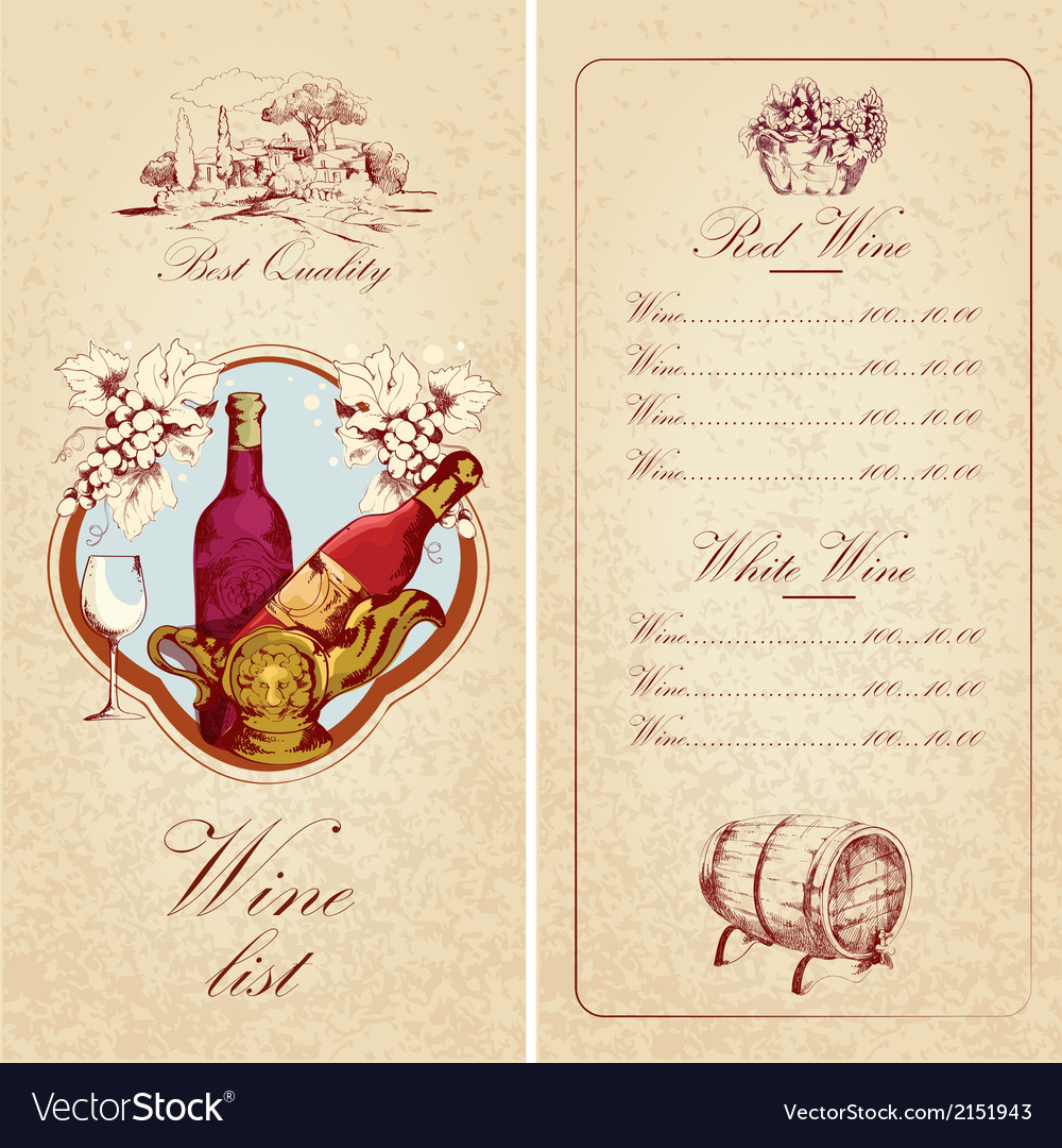 Wine list template vector | Price: 1 Credit (USD $1)