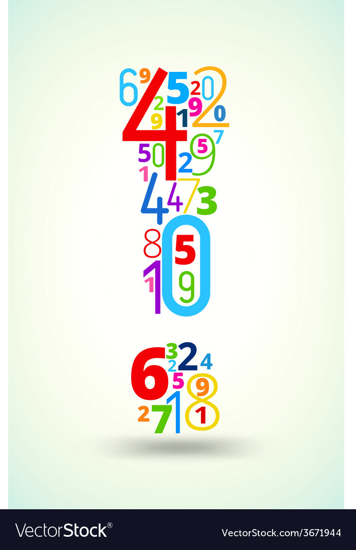 Exclamation mark colored font from numbers vector | Price: 1 Credit (USD $1)