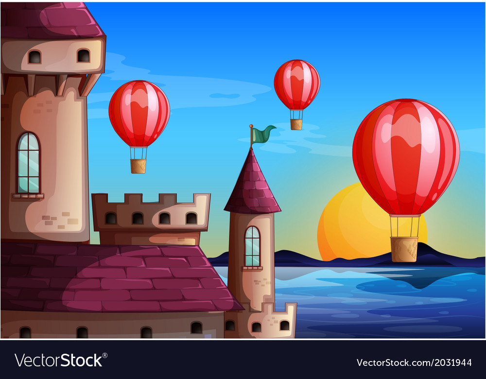 Floating balloons near the castle vector | Price: 3 Credit (USD $3)