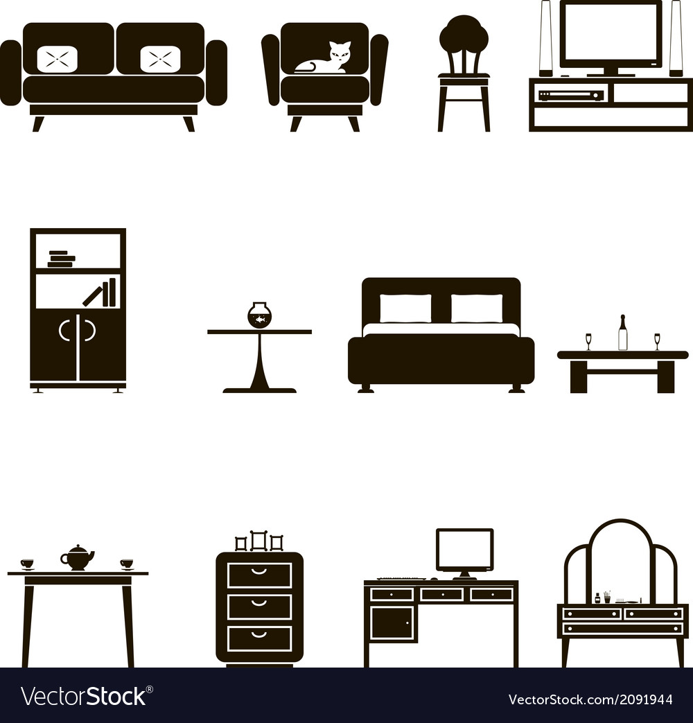 Furniture icons and symbols isolated silhouette vector | Price: 1 Credit (USD $1)