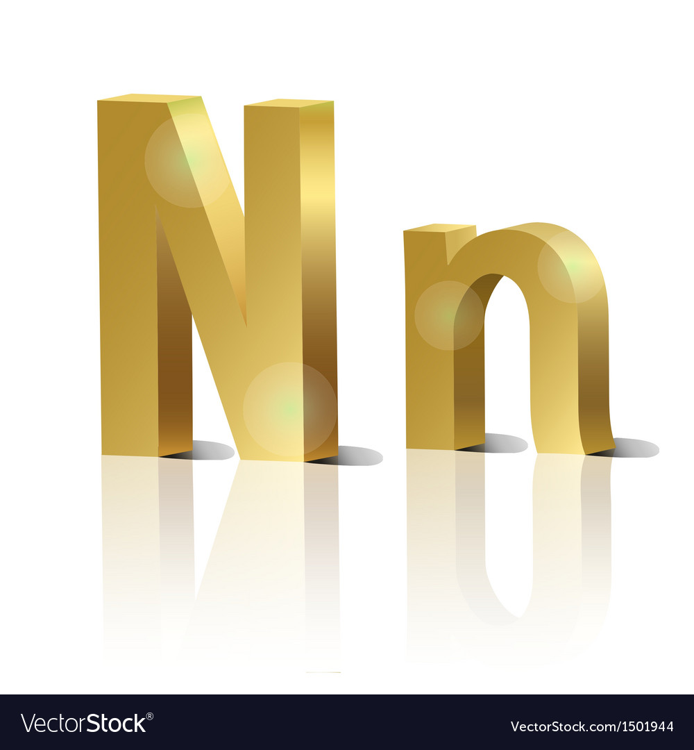 Golden letter n vector | Price: 1 Credit (USD $1)