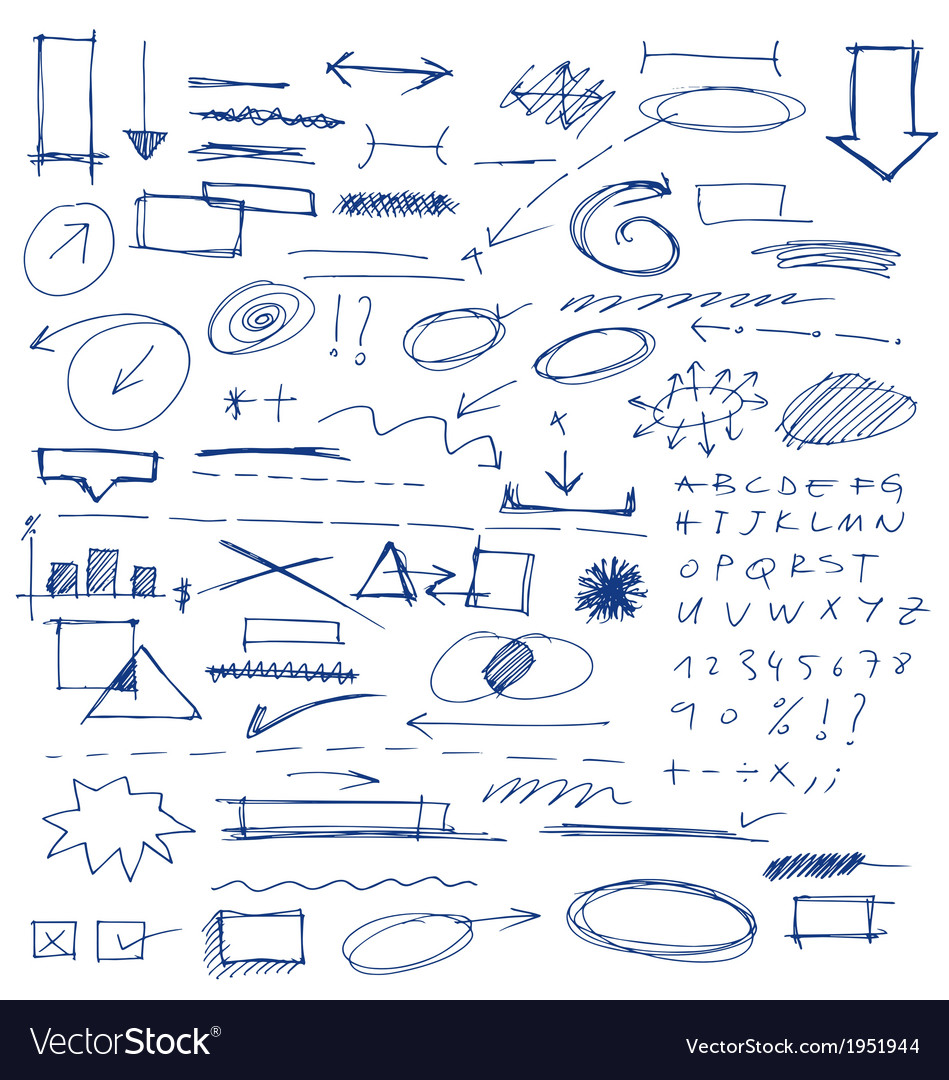 Hand drawn design elements collection vector | Price: 1 Credit (USD $1)