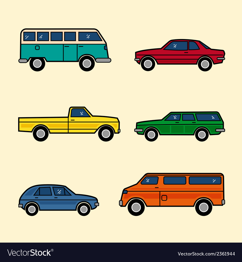 Line style color cars set vector | Price: 1 Credit (USD $1)