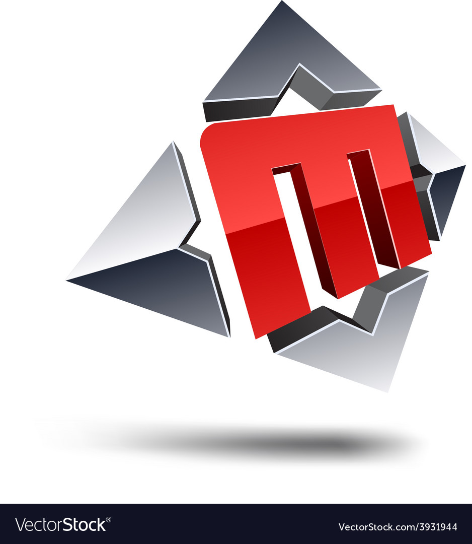 M 3d letter vector | Price: 1 Credit (USD $1)