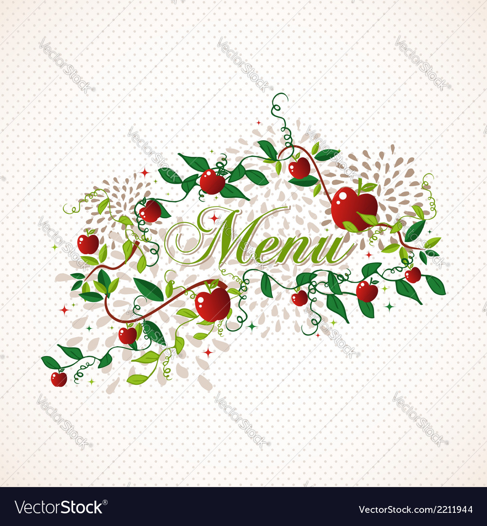Red apples restaurant menu design vector | Price: 1 Credit (USD $1)