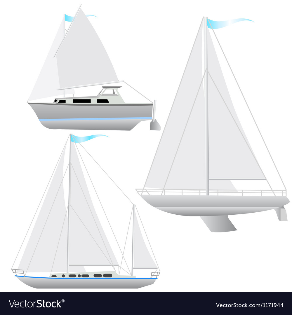 Set sailing boat floating vector | Price: 1 Credit (USD $1)