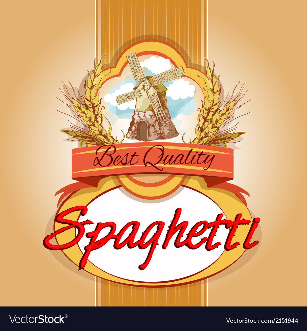 Spaghetti pack label vector | Price: 3 Credit (USD $3)