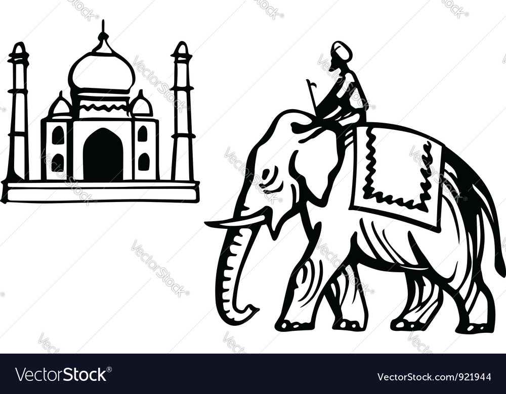 Taj mahal and indian elephant vector | Price: 1 Credit (USD $1)
