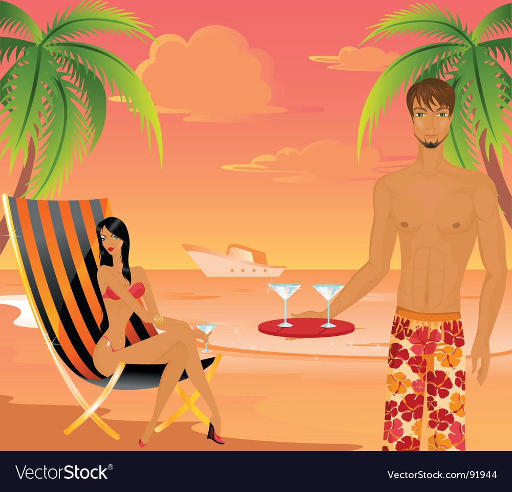 Tropical beach scene vector | Price: 5 Credit (USD $5)