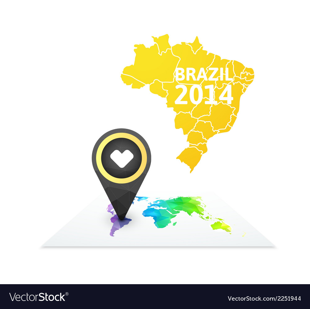 World map with a marker on brazil vector | Price: 1 Credit (USD $1)