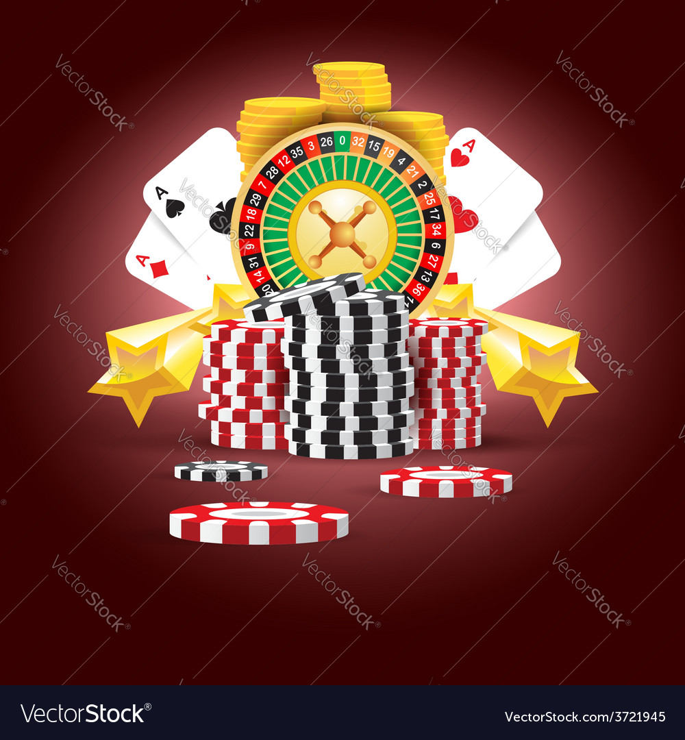 Casino european roulette money cards game vector | Price: 1 Credit (USD $1)