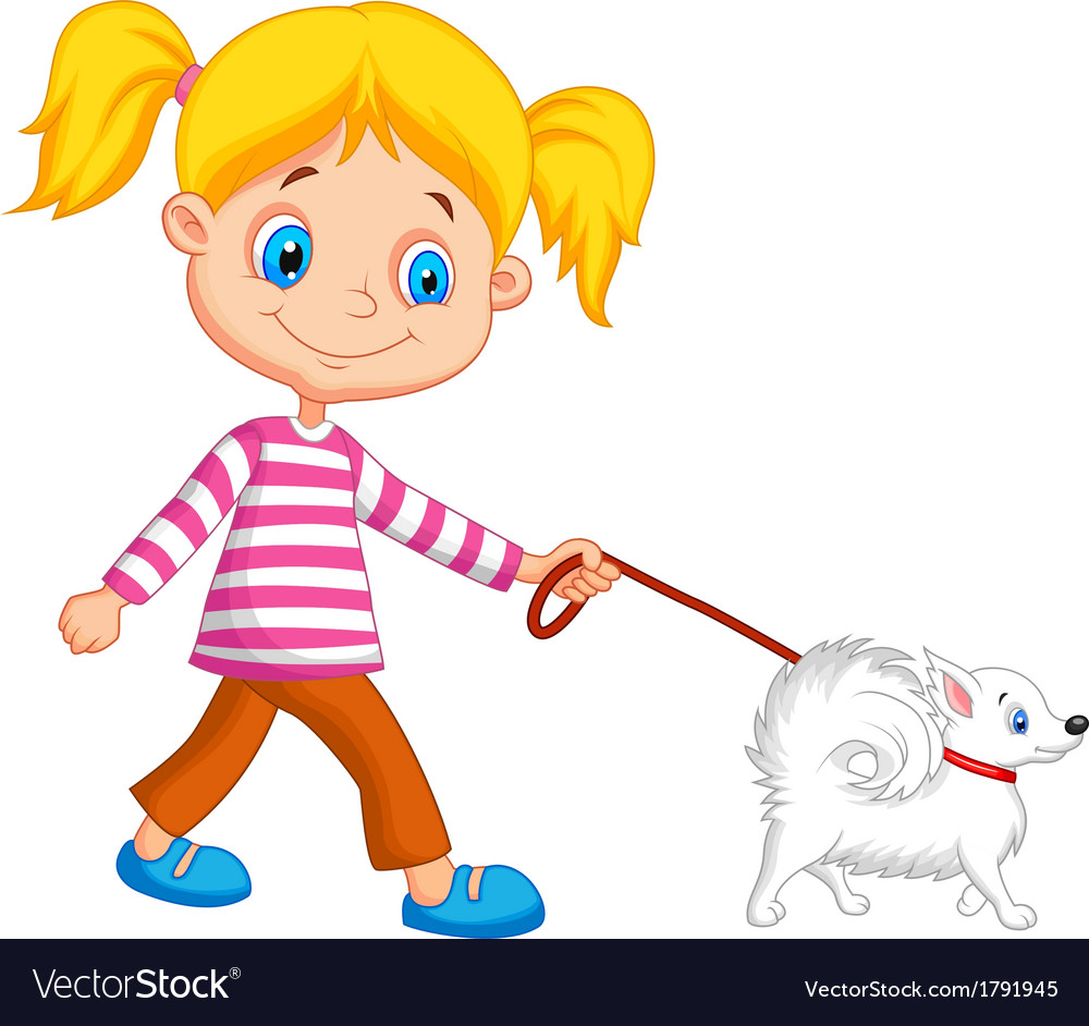 Cute cartoon girl walking with dog vector | Price: 1 Credit (USD $1)