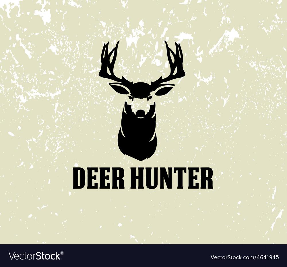 Deer head on grunge background vector | Price: 1 Credit (USD $1)