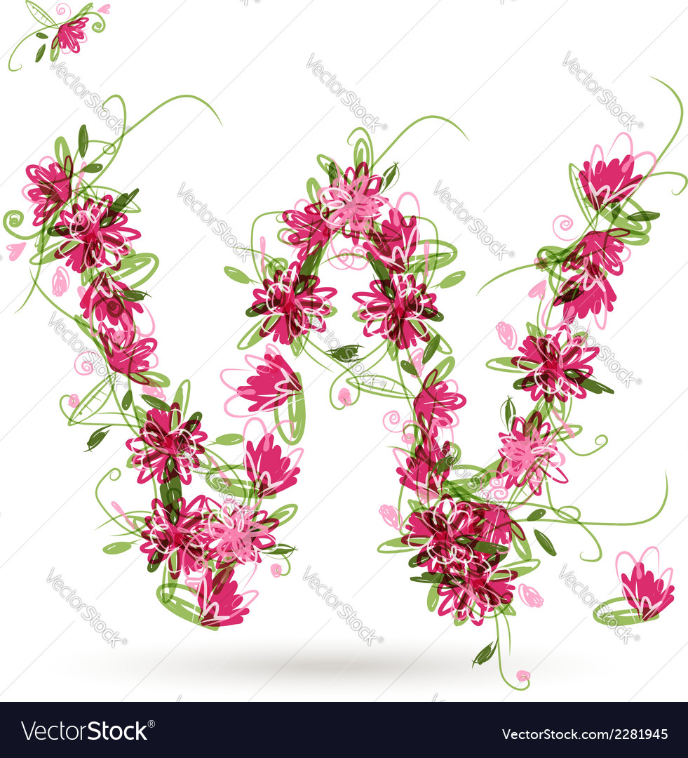 Floral letter w for your design vector | Price: 1 Credit (USD $1)