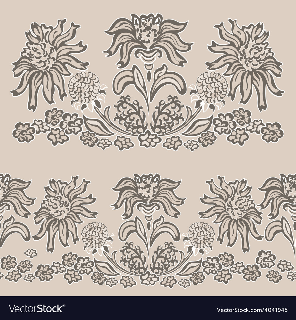 Floral pattern seamless border vector   Price: 1 Credit (USD $1)