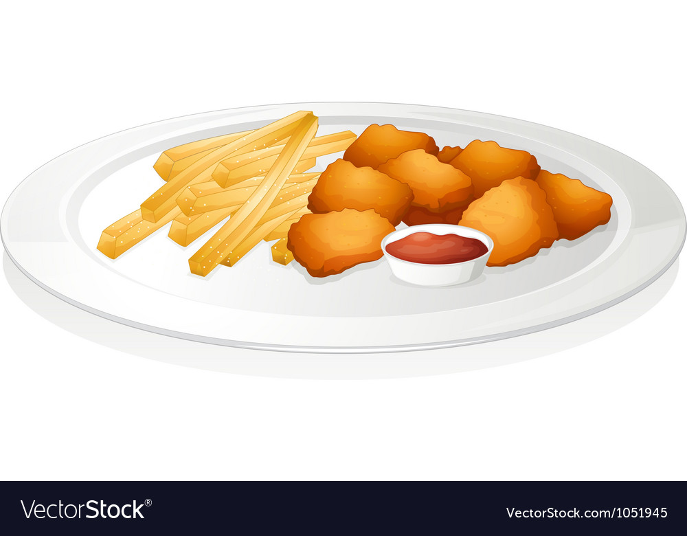 French fries cutlet and sauce vector | Price: 1 Credit (USD $1)