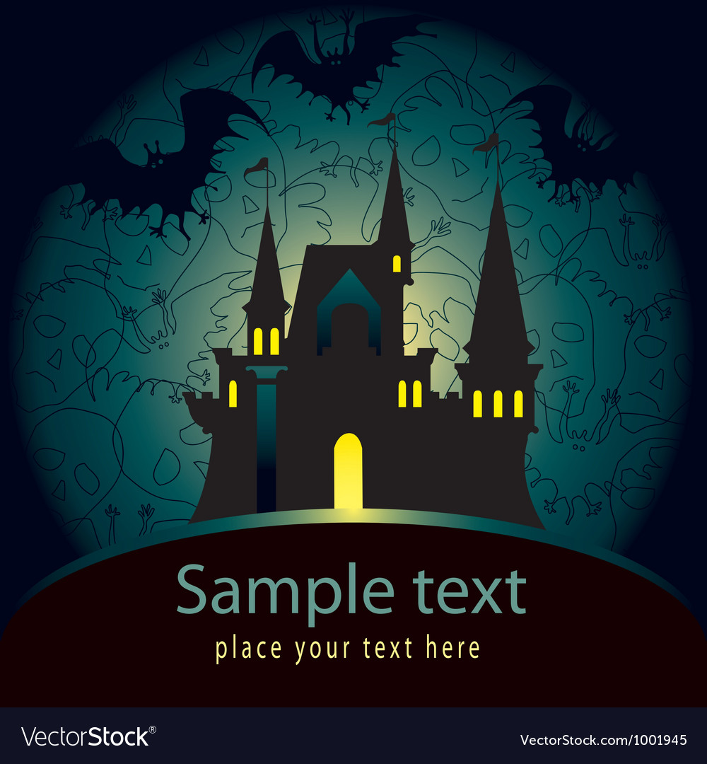 Halloween palace card vector | Price: 1 Credit (USD $1)