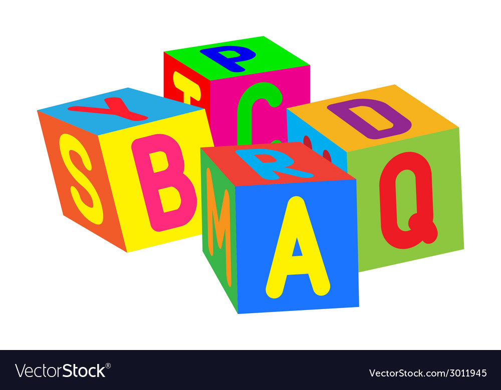 Kids colored cubes with letters vector | Price: 1 Credit (USD $1)