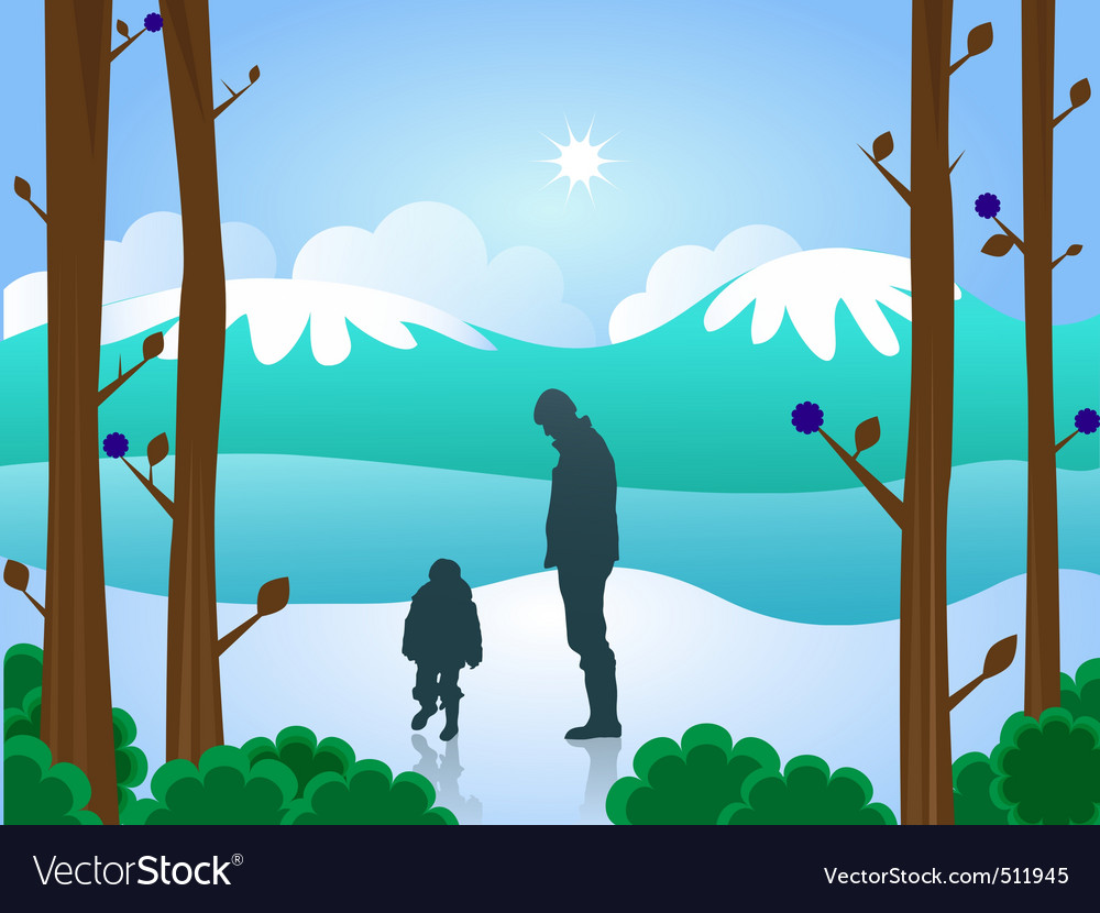 Man and boy in snow vector   Price: 1 Credit (USD $1)