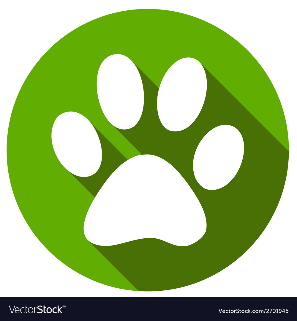 New paw icon button flat vector | Price: 1 Credit (USD $1)