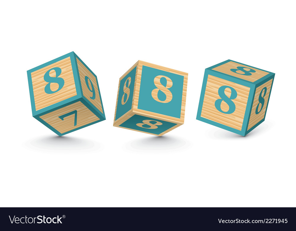 Number 8 wooden alphabet blocks vector | Price: 1 Credit (USD $1)