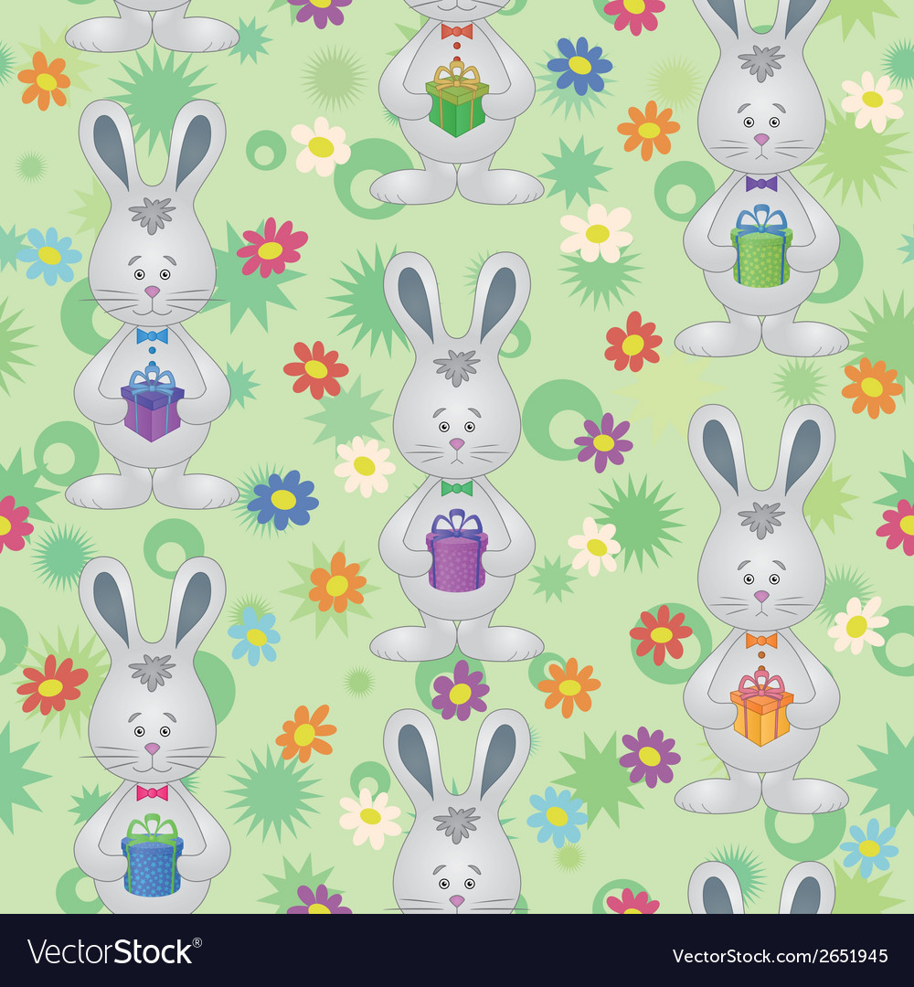 Seamless pattern easter bunnies with gift boxes vector | Price: 1 Credit (USD $1)