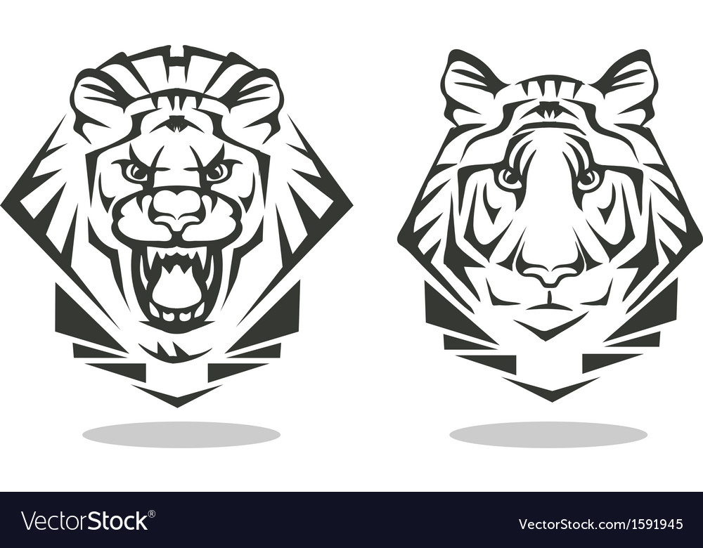 Tiger and lion vector | Price: 1 Credit (USD $1)