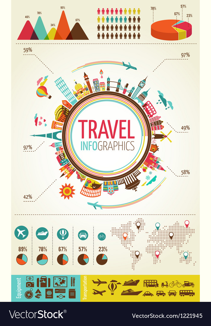 Travel and tourism infographics with data icons vector | Price: 3 Credit (USD $3)