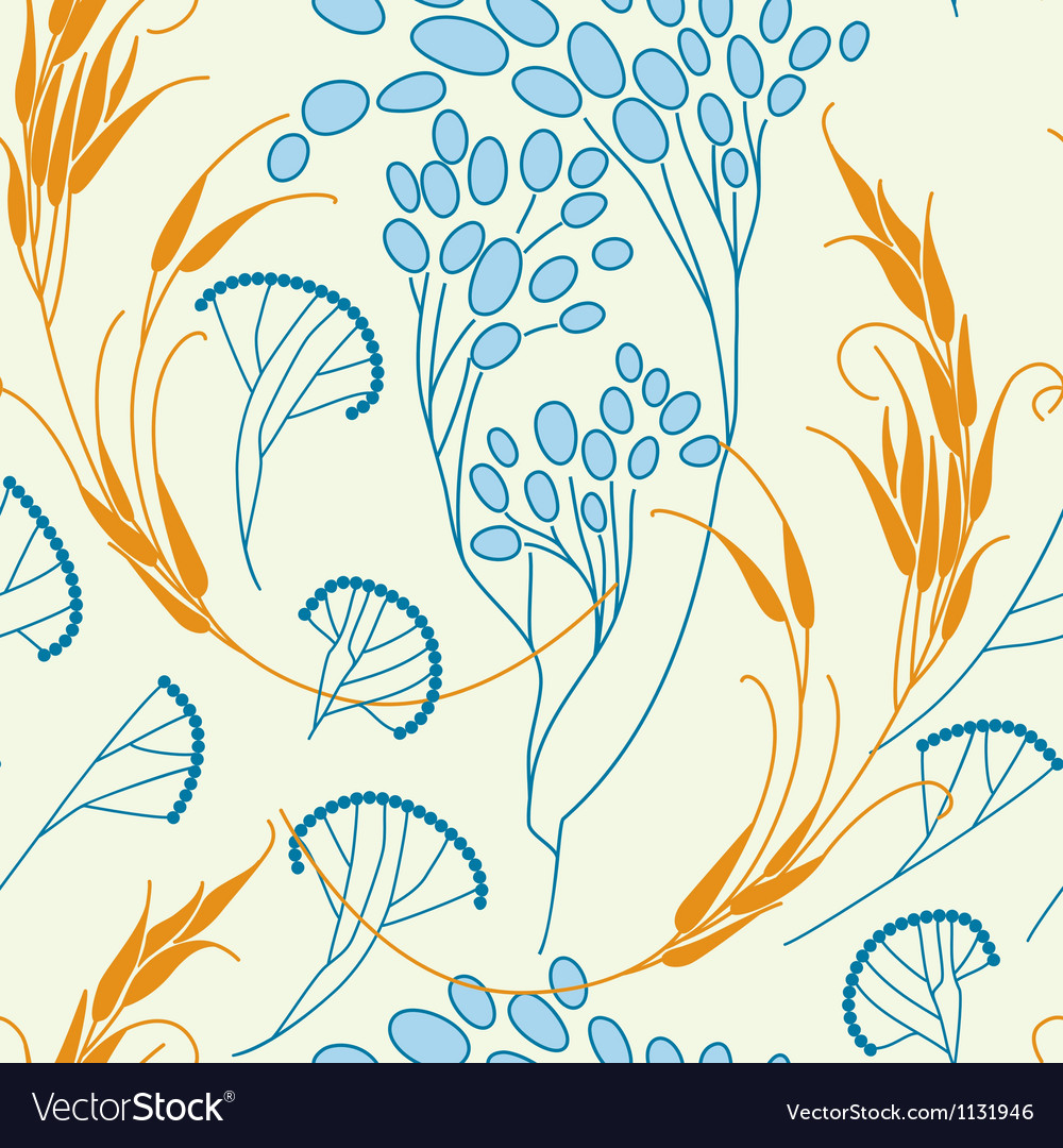 Cereals and grass seamless pattern vector | Price: 1 Credit (USD $1)