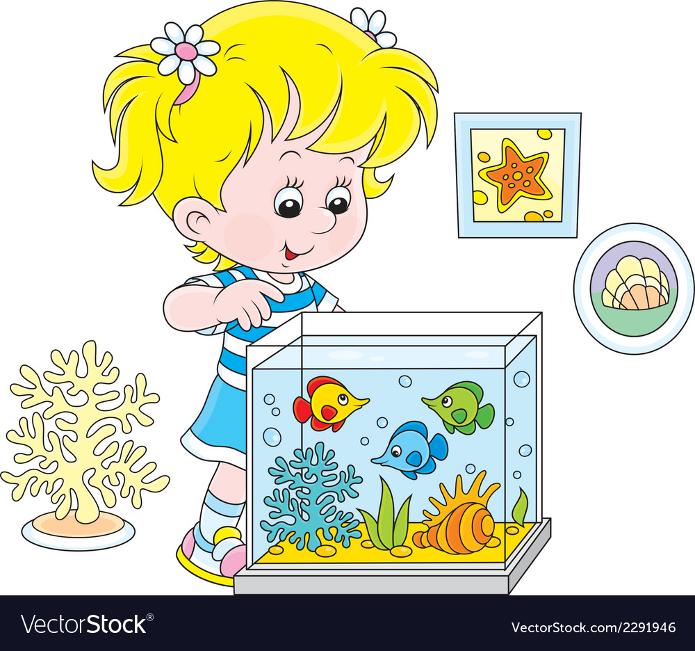 Girl looking at aquarium fishes vector | Price: 1 Credit (USD $1)