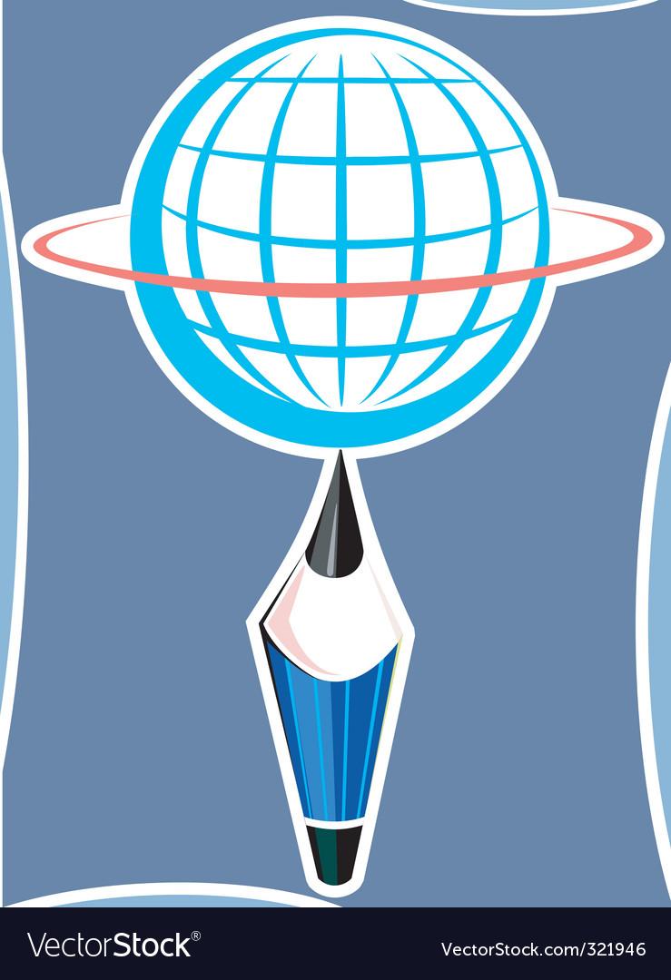 Globe and pencil vector | Price: 1 Credit (USD $1)