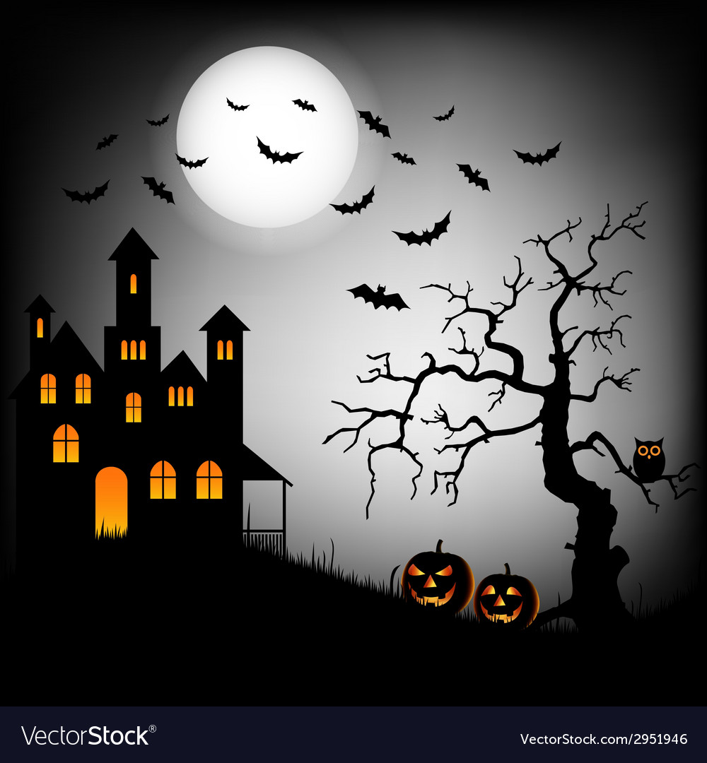 Halloween haunted castle with bats and tree vector | Price: 1 Credit (USD $1)