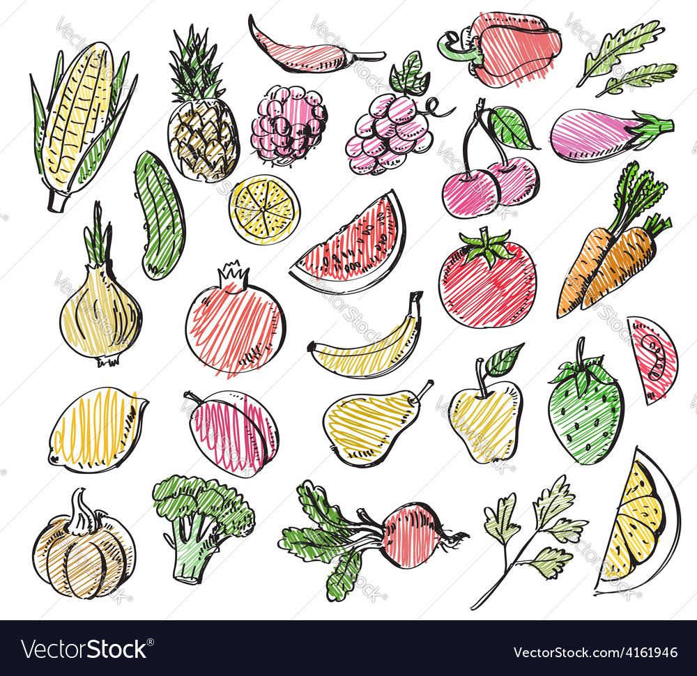 Hand drawn fruits and vegetables vector | Price: 1 Credit (USD $1)
