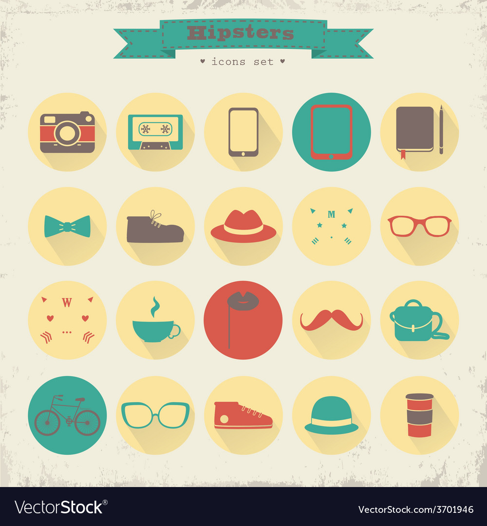 Hipster icons vector   Price: 1 Credit (USD $1)