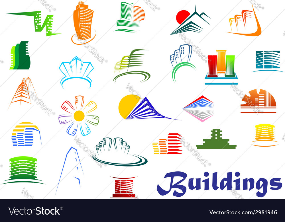 Office and apartments buildings icons vector | Price: 1 Credit (USD $1)