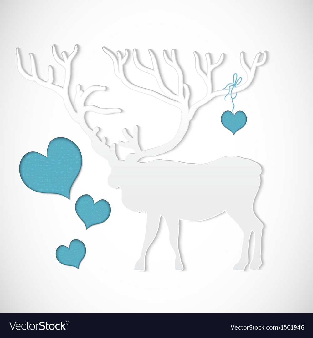Paper cut greeting card with deer vector | Price: 1 Credit (USD $1)