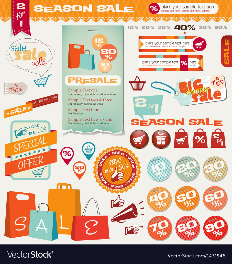 Sale labels banner icons vector | Price: 3 Credit (USD $3)