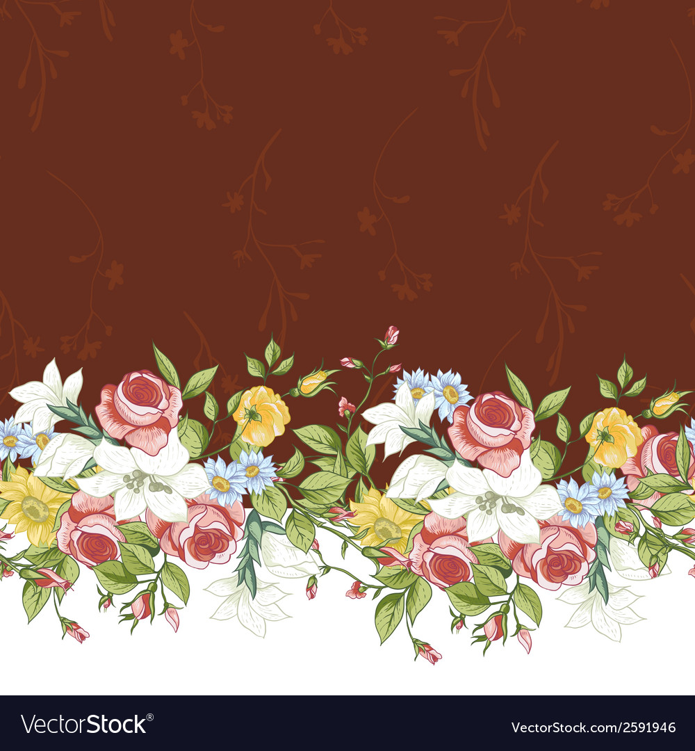 Seamless floral border vector   Price: 1 Credit (USD $1)
