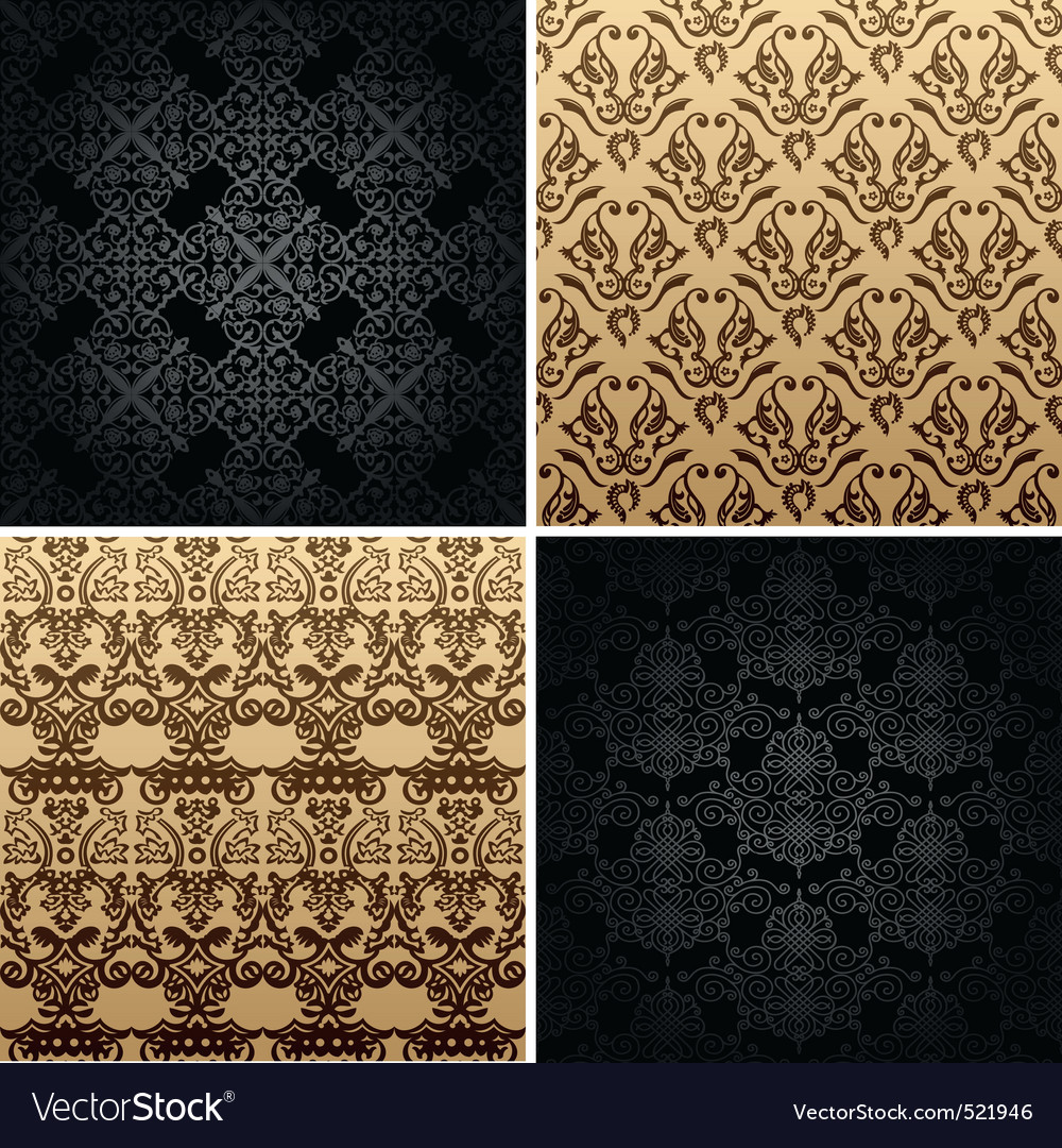 Seamless set four vintage backgrounds ornament dec vector | Price: 1 Credit (USD $1)
