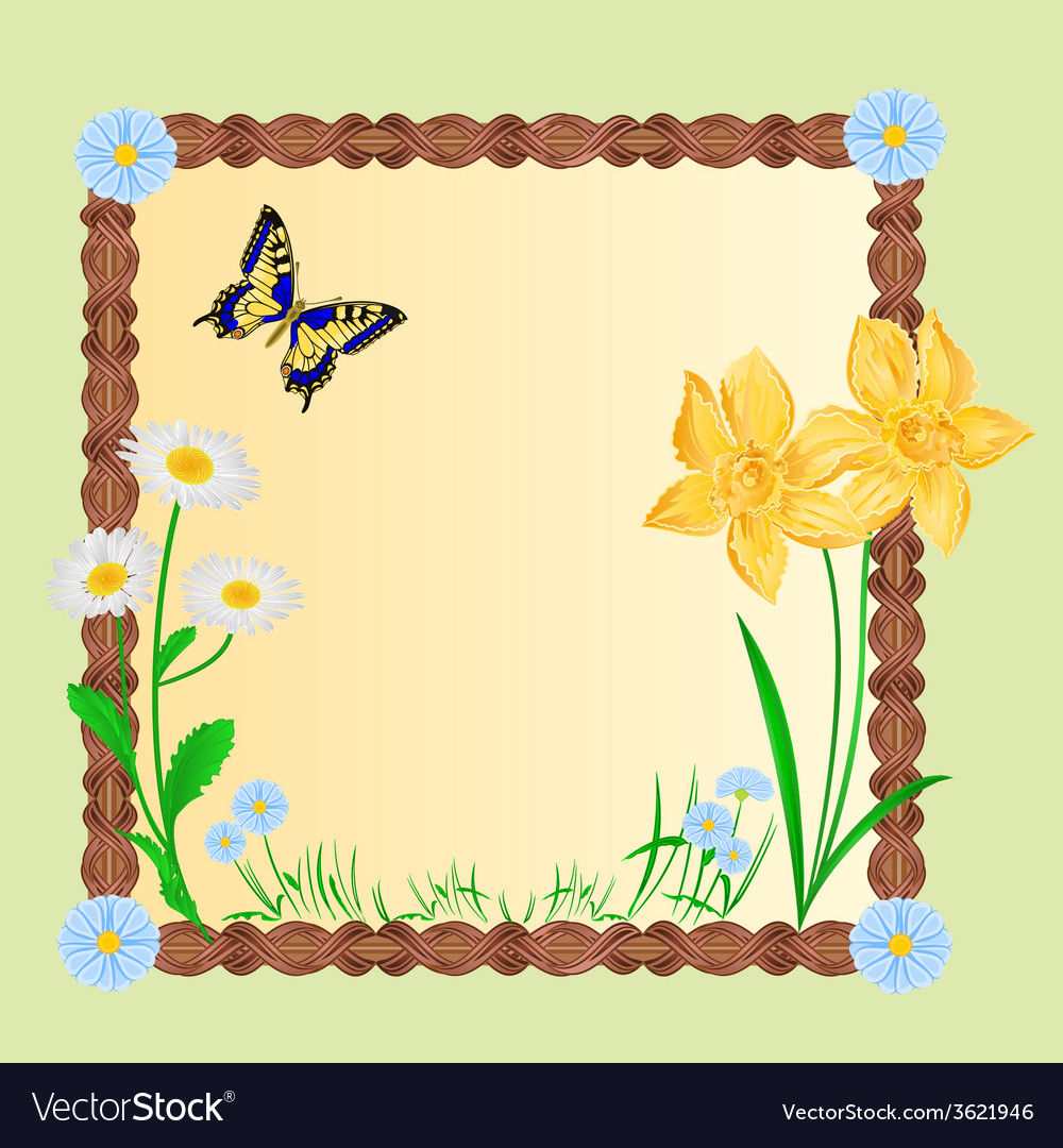 Spring floral background with butterflies vector | Price: 1 Credit (USD $1)