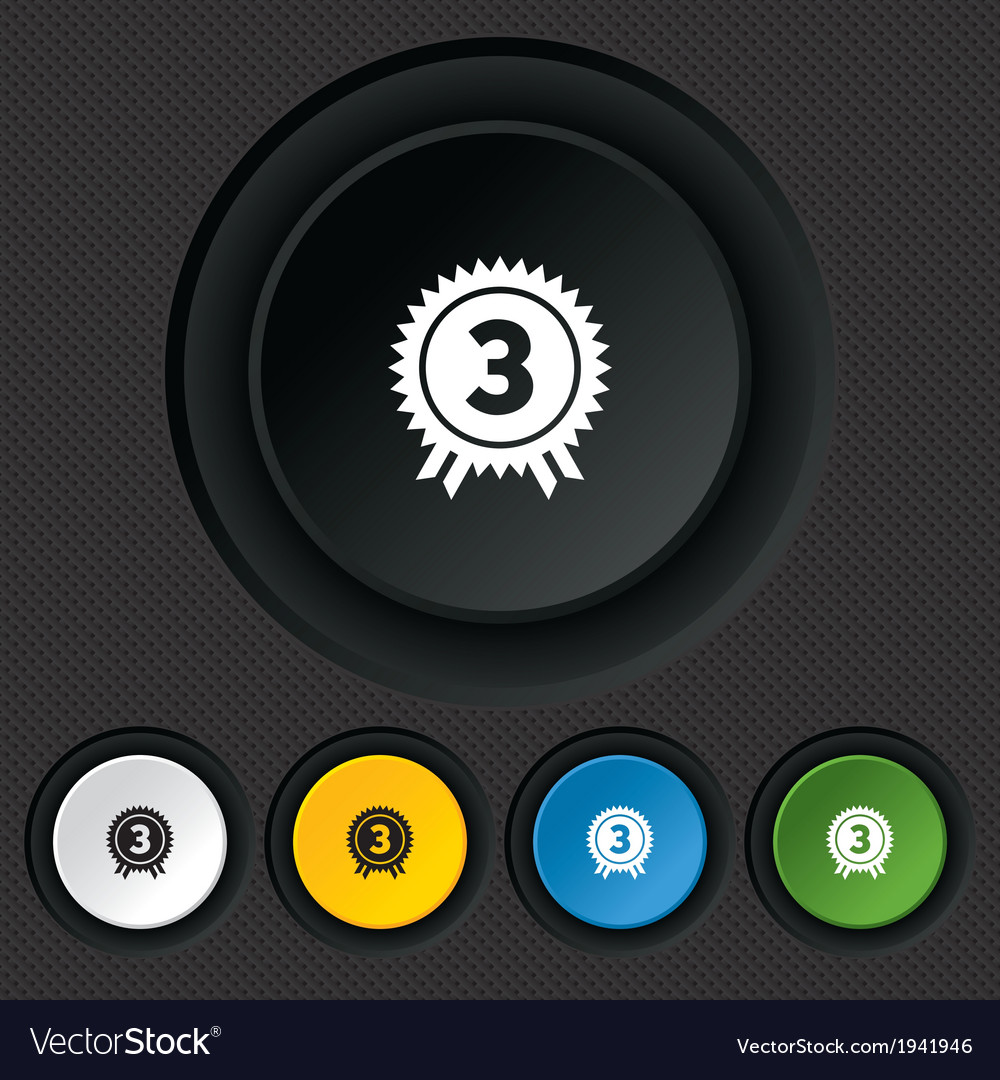 Third place award sign icon prize for winner vector | Price: 1 Credit (USD $1)