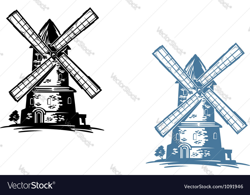 Windmill building vector | Price: 1 Credit (USD $1)