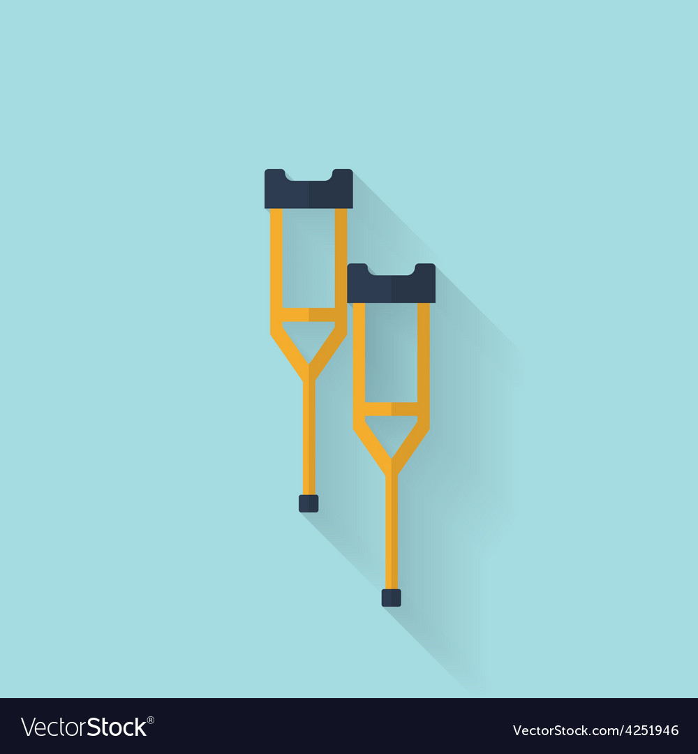 Woodent crutch flat icon health care vector | Price: 1 Credit (USD $1)