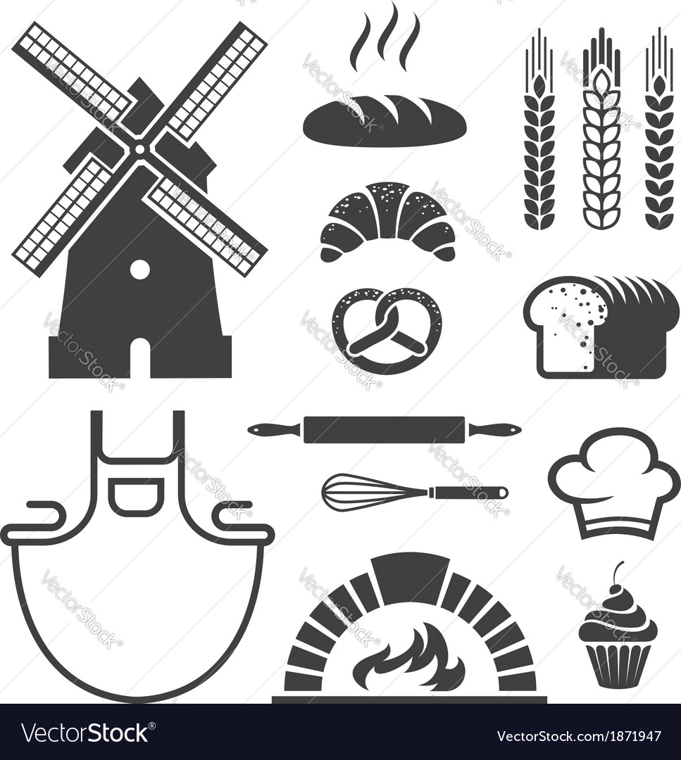 Bakery icons and symbols vector | Price: 1 Credit (USD $1)