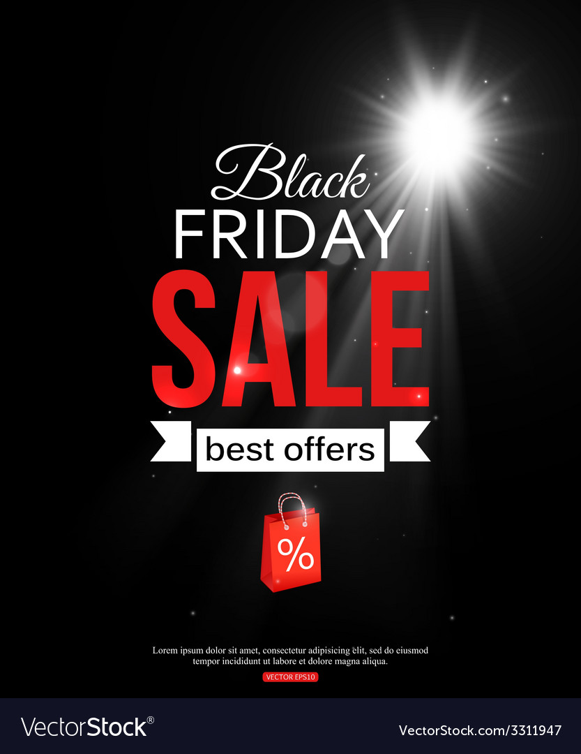 Black friday sale shining typographical background vector | Price: 1 Credit (USD $1)